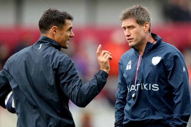 Ronan O'Gara and Dan Carter before the game