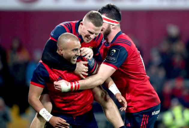 Simon Zebo celebrates scoring a try with Andrew Conway and Jean Kleyn