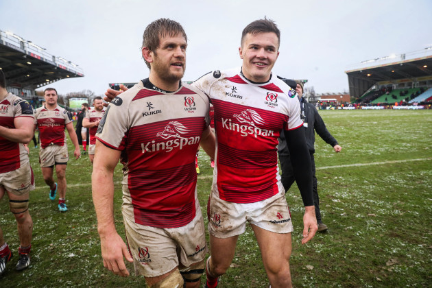 Chris Henry and Jacob Stockdale celebrate