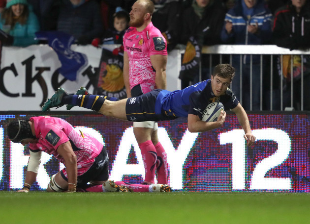 Luke McGrath dives over for a try that was later disallowed