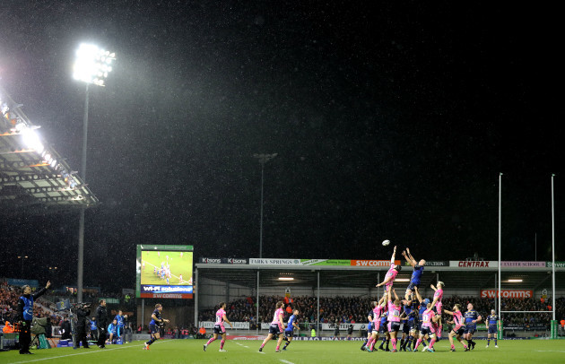Mitch Lees and Devin Toner contest in the line out