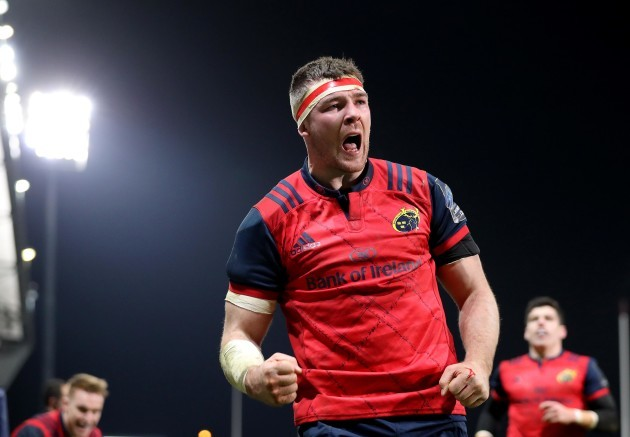 Peter O'Mahony celebrates scoring a try