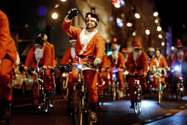 Participants on the Cork Santa Cycle