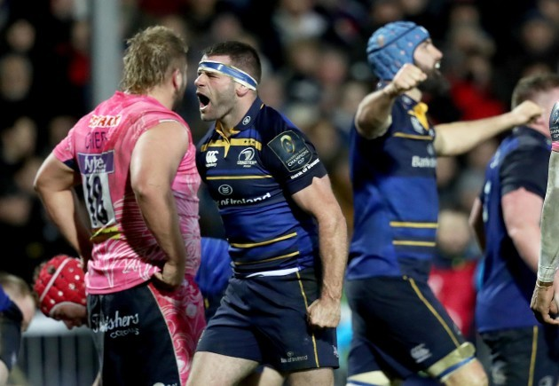 Fergus McFadden celebrates Jack Conan's try