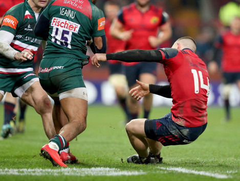 Andrew Conway suffers an injury whilst attempting to tackle Telusa Veainu