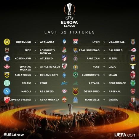 Europa League last 32 draw