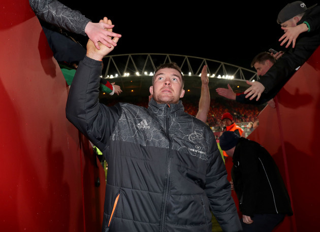 Peter O'Mahony celebrates after the game