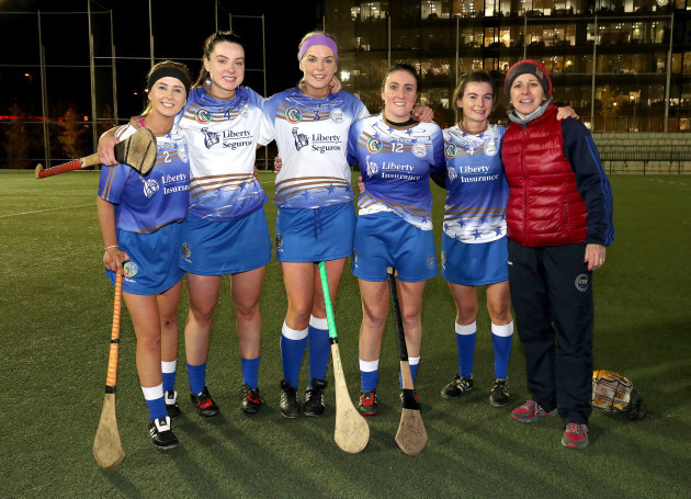 Tara Kenny, Rebecca Hennelly, Sarah Dervan, Ailish O'Reilly and Aoife Donohue with manager Ann Downey after the game