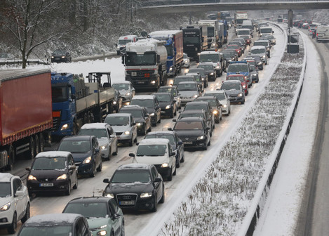 Traffic jam due to ice on motorway A40