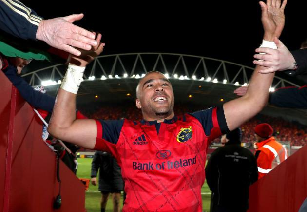Simon Zebo celebrates after the game
