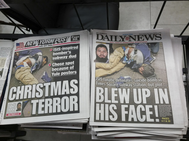 NY: New York newspapers report on terrorist attack in the subway in New York