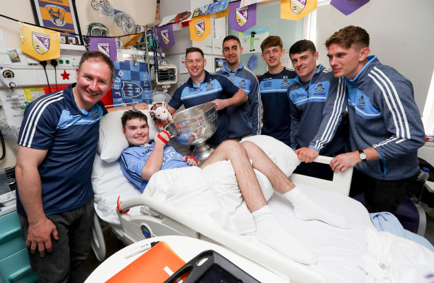 Rory Wheelan with Dublin manager Jim Gavin and Philly McMahon, James McCarthy, Evan Comerford, Brian Howard and Michael Fitzsimons