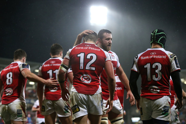 Stuart McCloskey celebrates scoring their first try with Alan O'Connor