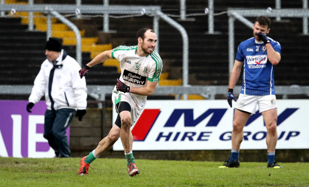 Kevin Murnaghan celebrates kicking the winning point late in the game 17/12/2017