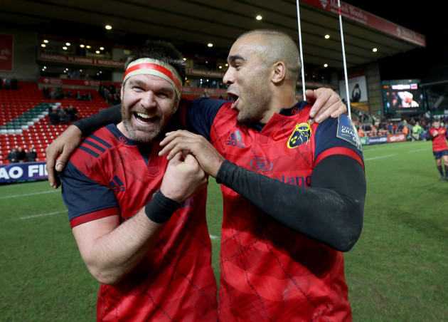 Billy Holland and Simon Zebo celebrate after the game 17/12/2017