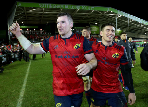 Peter O'Mahony and Ian Keatley celebrate after the game 17/12/2017