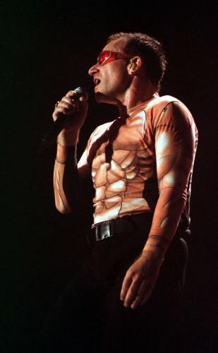 IRISH ROCK BAND U2 BONO SINGING PORMART TOURS SKELETON SUITS