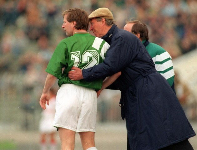 Jack Charlton sends on Ronnie Whelan