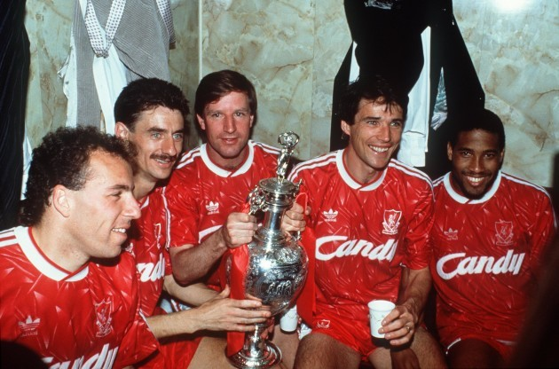Liverpool with the League trophy 1990