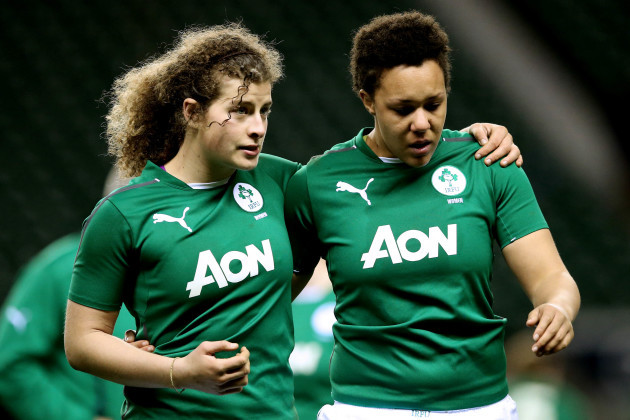 Jenny Murphy and Sophie Spence dejected after the game