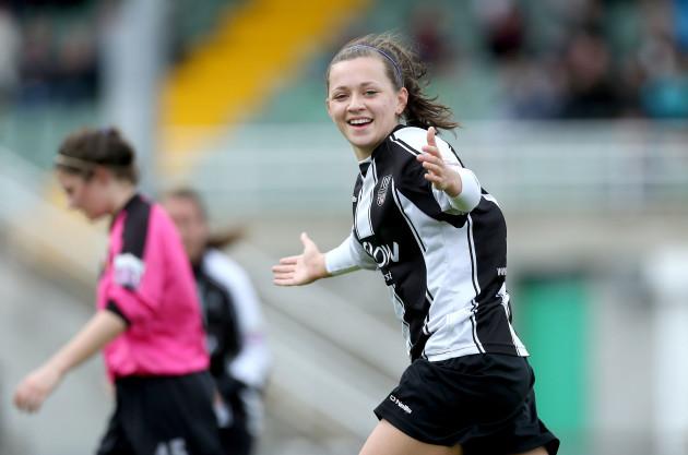 Katie McCabe celebrates scoring