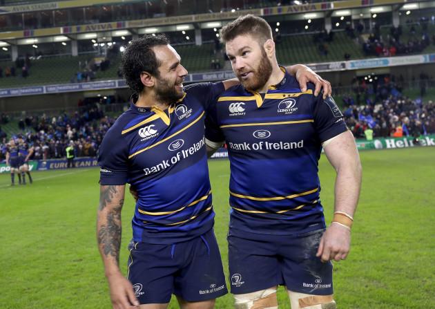 Isa Nacewa and Sean O'Brien celebrate after the game