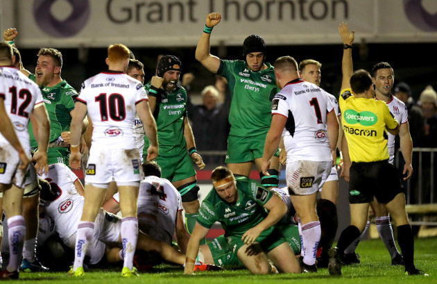 John Muldoon and Ultan Dillane celebrate as Eoghan Masterson scores a try