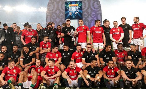 British and Irish Lions and New Zealand All Blacks's teams on the podium after at the presentation of the series trophy