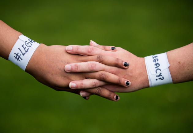 A view of the 'Legacy?' wristbands worn by players from both sides