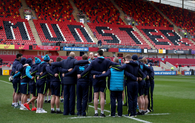 The Leinster team huddle before the game