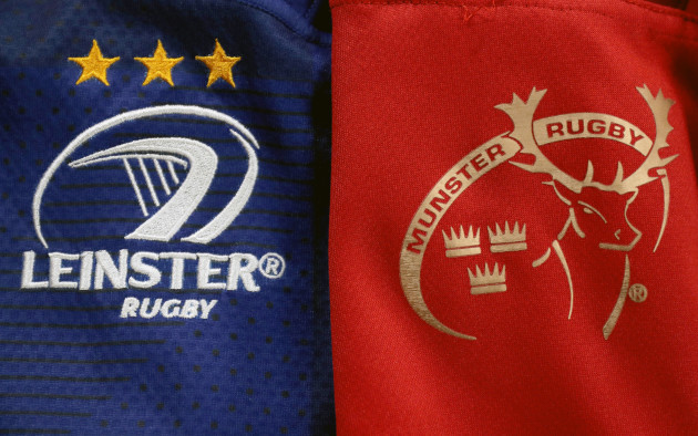 A view of the Leinster and Munster jerseys ahead of the game