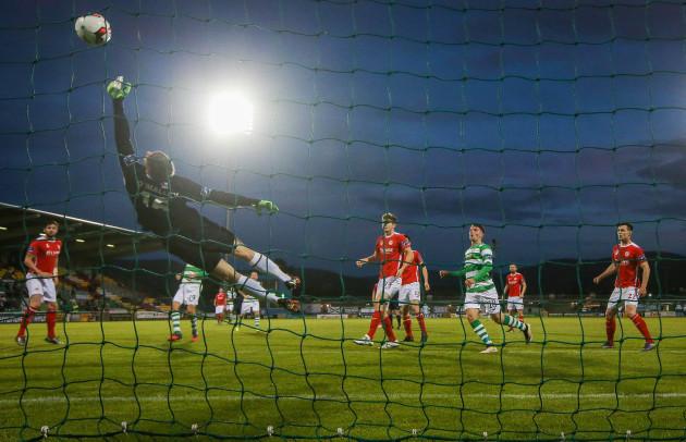 Conor O'Malley makes a save