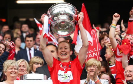 Rena Buckley lifts the O'Duffy cup