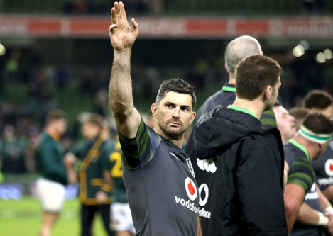 Rob Kearney celebrates after the game