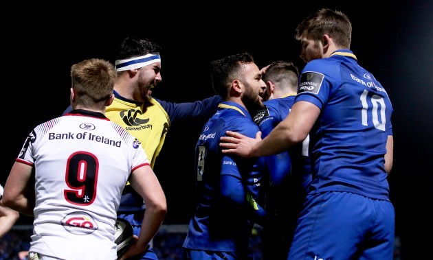 Barry Daly celebrates scoring a try with teammates