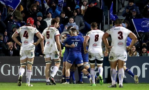 Leinster celebrate Fergus McFadden's try