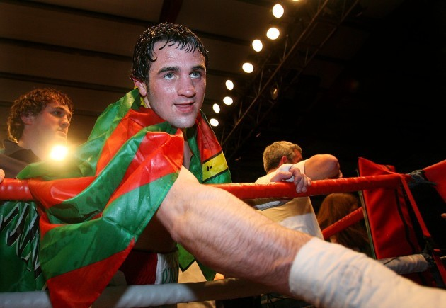 Henry Coyle celebrates winning is fight with fans