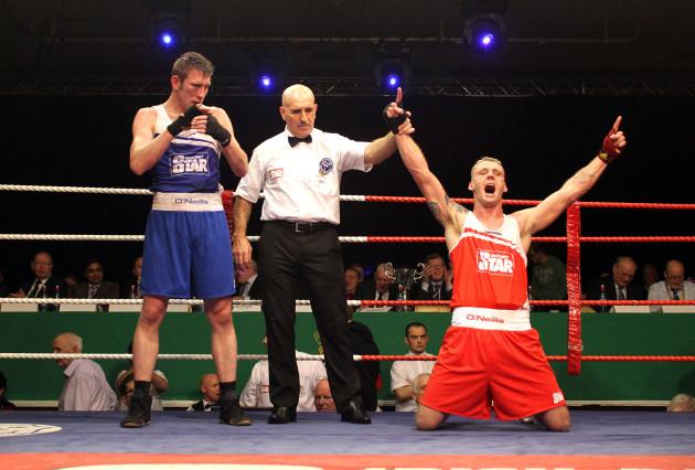 Roy Sheahan celebrates his win over Matthew Tinker