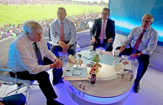 Michael Lyster alongside Ciaran Whelan, Colm O'Rourke and Pat Spillane