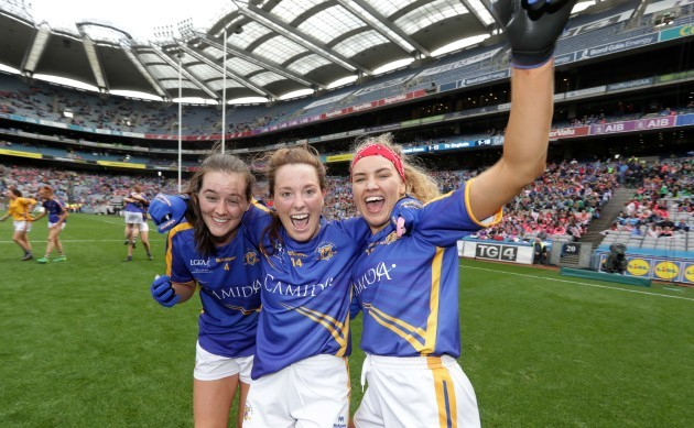 Emma Buckley, Gillian O'Brien and Orla O'Dwyer celebrate