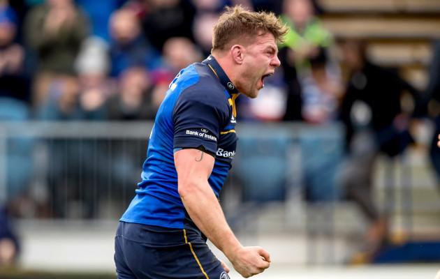 Jordi Murphy celebrates scoring a try