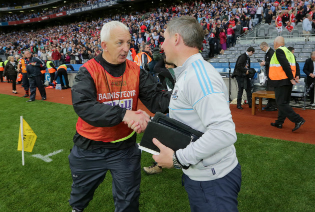 Jim Gavin is congratulated by Conor Counihan