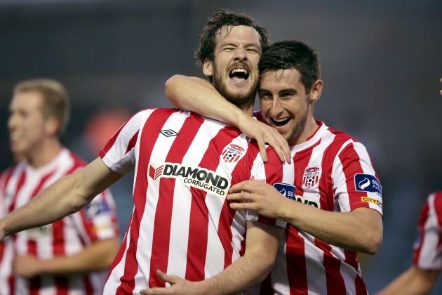 Aaron Barry congratulates goalscorer Ryan McBride