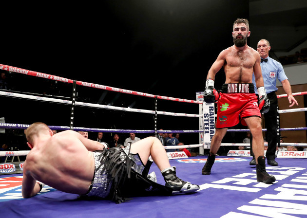 Jono Carroll (red) in action against Johnny Quigley