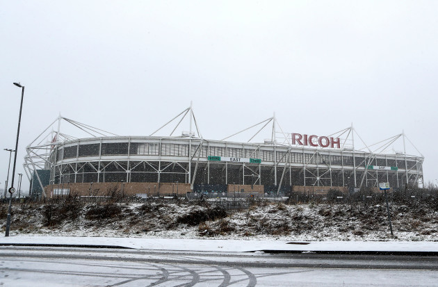 A general view of the snow outside the Ricoh Arena before the match 21/1/2018