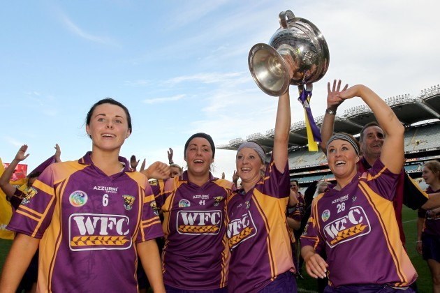 Mary leacy, Una Leacy, Karen Atkinson and Coleen Atkinson clebrate with the trophy