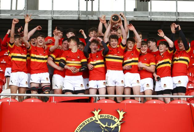 Harry O'Riordan lifts the trophy