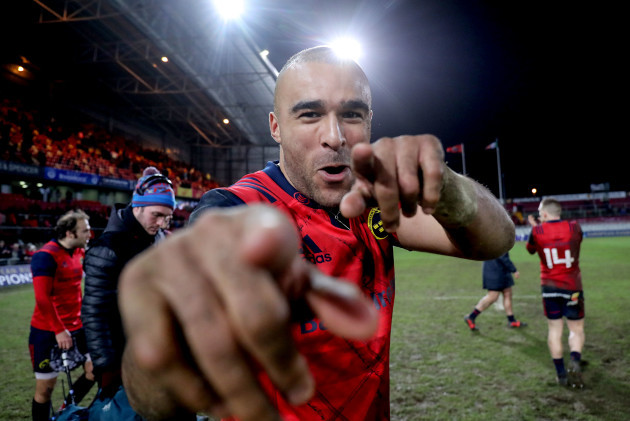 Simon Zebo celebrates after the game 21/1/2018