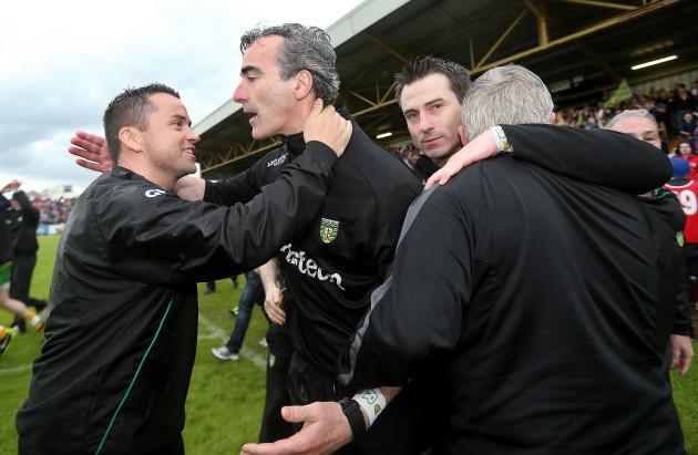 Maxi Curran and Jim McGuinness celebrate