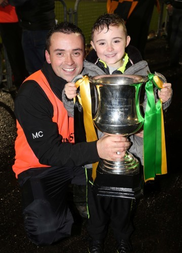Maxi Curran and son Kristian with the Dr. Maguire Cup